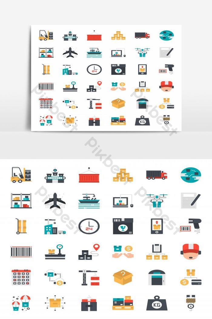 Ícones de logística e transporte de estilo simples
