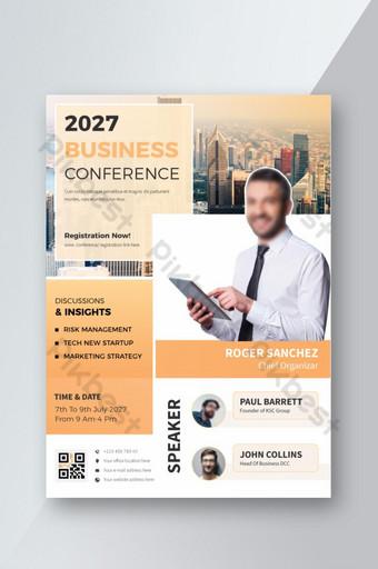 Flyer de conférence orange multi-teintes Modèle AI