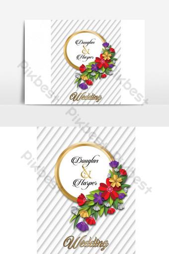 Modèle de vecteur de carte de mariage de luxe Éléments graphiques Modèle EPS