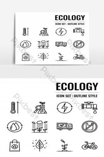 elemento gráfico de vector de paquete aislado de icono de ecología Elementos graficos Modelo EPS