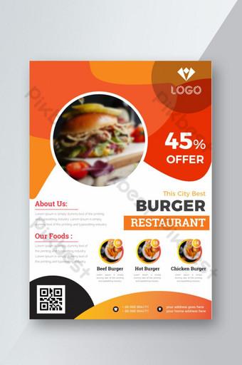 Folleto enrollable de forma abstracta de comida Modelo AI