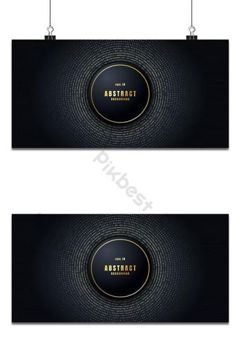 forma de círculo de fondo abstracto negro realista con elementos de puntos de brillos dorados decora 2 Fondos Modelo PSD