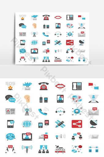 elemento gráfico de vector de paquete de icono plano perfecto de pixel de evolución de comunicación Elementos graficos Modelo EPS