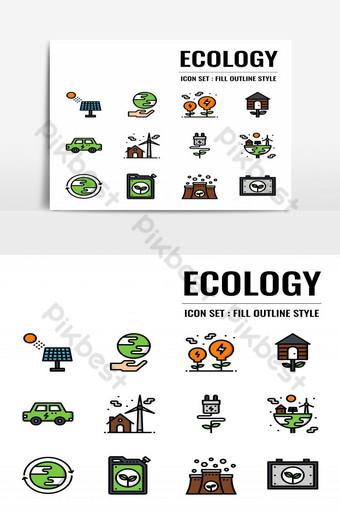 elemento gráfico de vector de paquete de icono de ecología Elementos graficos Modelo EPS