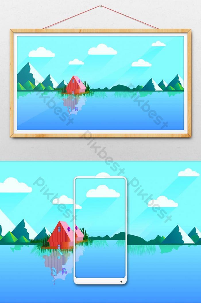 ilustração de belas paisagens de montanha