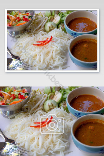 Rice Noodles with Fish Curry Sauce served with vegetables set Photo Template JPG