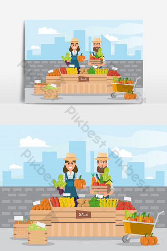 مزرعة متجر السوق المحلية بيع الفاكهة والخضروات عنصر الرسم ناقلات صور PNG قالب EPS