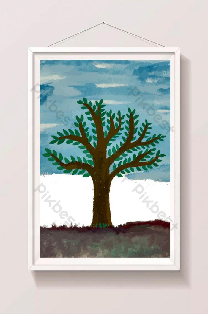 watercolor tree land and blue sky illustration