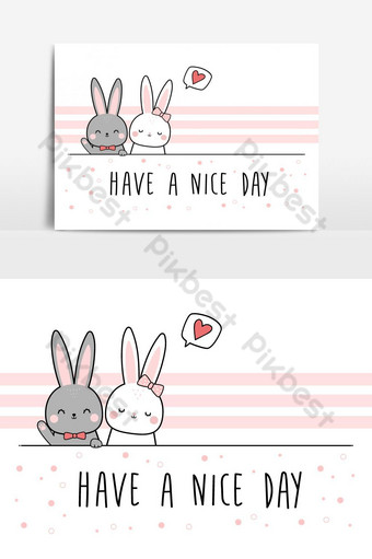 lindo conejo conejito amante pareja saludo elemento de dibujos animados Elementos graficos Modelo EPS
