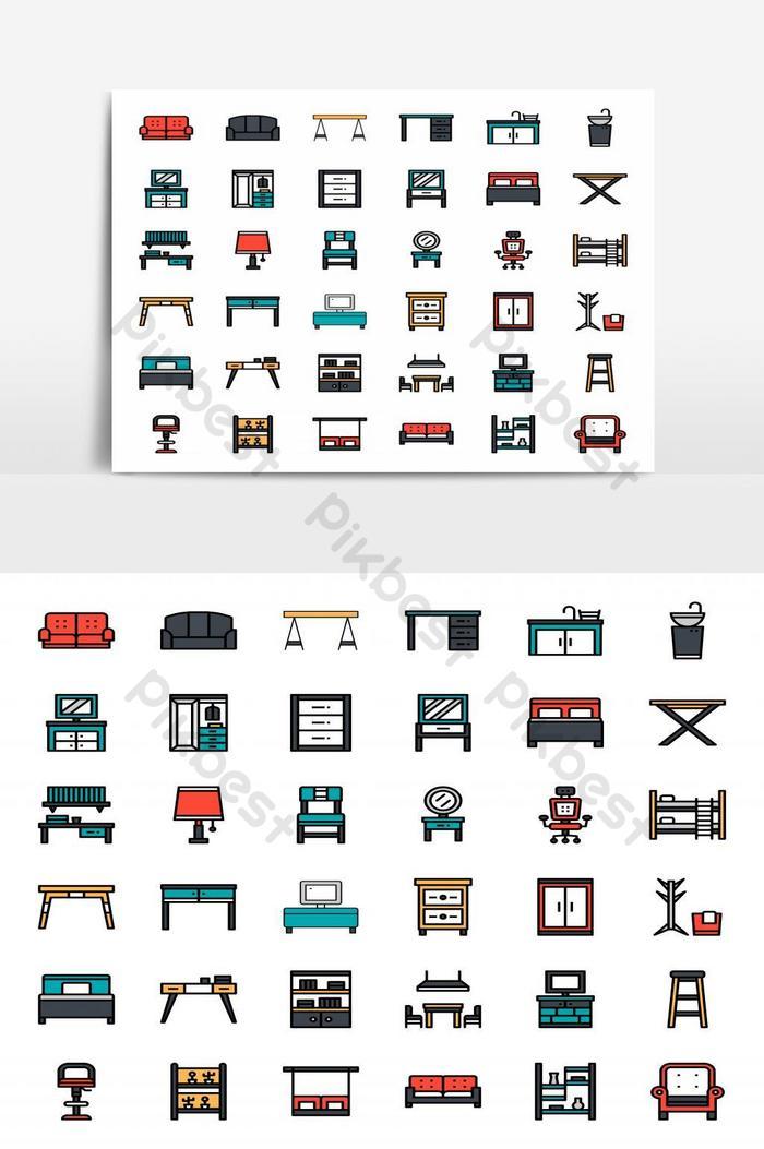 Ícone plano de contorno de móveis