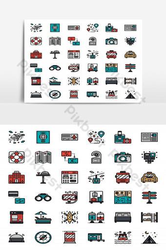 icono de contorno perfecto de pixel de viaje UI Modelo EPS
