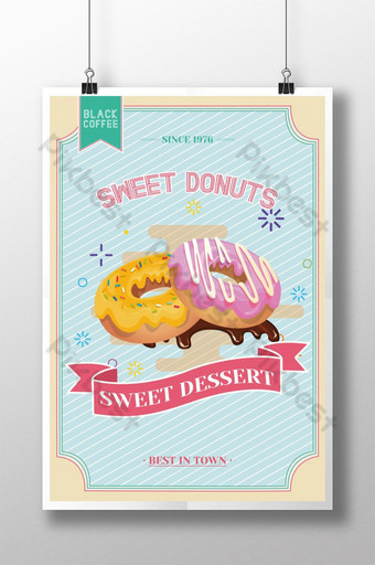 cartel de promoción de comida de rosquilla dulce de estilo retro Modelo PSD
