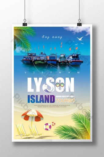 Poster ng paglalakbay sa isla ng lyson ng tag-init Template PSD