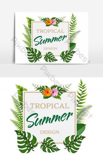 العصرية الصيف إطار مربع زهرة تصميم عنصر الرسم ناقلات صور PNG قالب AI