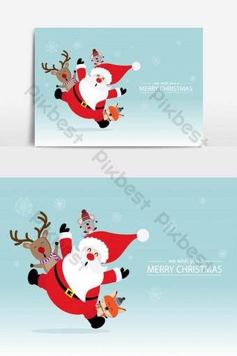 عيد ميلاد سعيد بطاقات المعايدة عنصر الرسم صور PNG قالب EPS