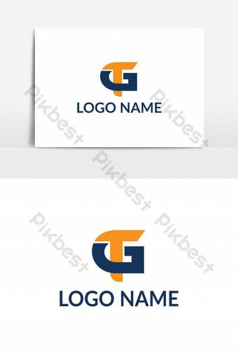 elemento gráfico del vector del logotipo de la letra de GT Elementos graficos Modelo AI