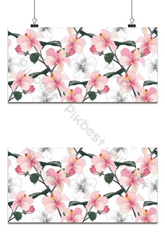 Patrón floral transparente color rosa pastel fondo de flores de hibisco Fondos Modelo EPS