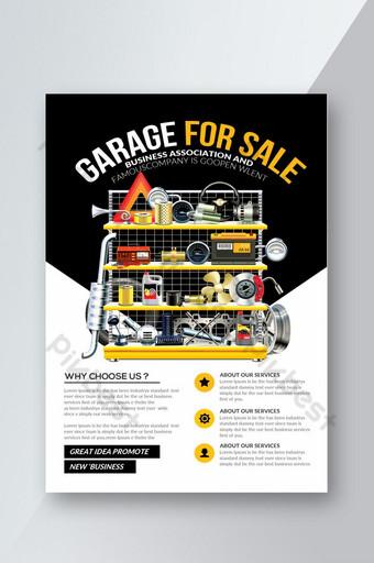 folleto de servicios de coche de garaje en blanco y negro Modelo PSD