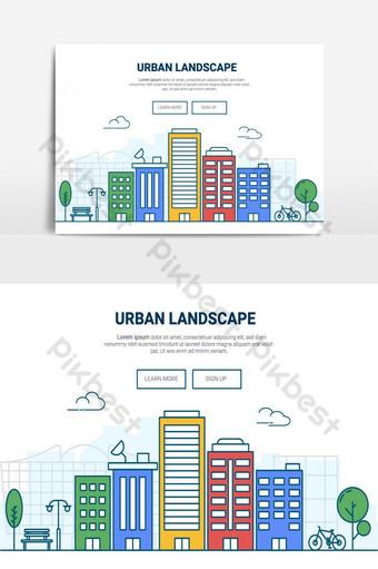 edificio de paisaje en elemento gráfico de vector de ciudad Elementos graficos Modelo AI