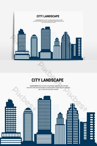 elemento gráfico de vector de edificio de paisaje de ciudad Elementos graficos Modelo AI