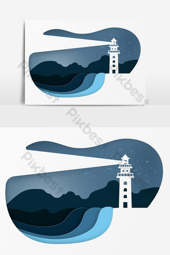 Modern Building Lighthouse Night Seascape Vector Graphic Element PNG Images Template AI