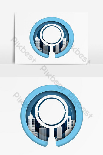 Searching for opportunities with magnifier glass on cityscape Vector Graphic Element PNG Images Template AI