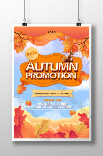 Affiche de l'événement de réduction d'automne Modèle PSD