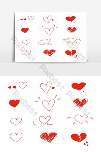 elemento gráfico de vector de paquete de doodle de corazón de san Elementos graficos Modelo EPS