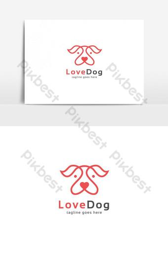 elemento gráfico de vector de logotipo de perro de amor Elementos graficos Modelo AI