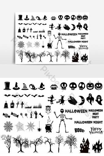 elemento gráfico de vector de paquete de icono de silueta de halloween Elementos graficos Modelo EPS