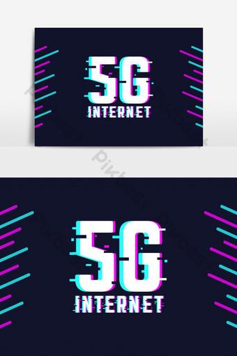 elemento gráfico vetorial de texto 5g incrível para internet Elementos gráficos Modelo AI
