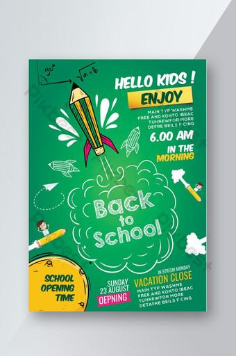 Flyer vert de retour à l'école Modèle PSD