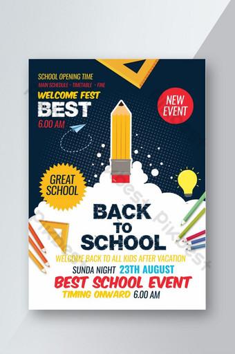 Flyer créatif de retour à l'école Modèle PSD