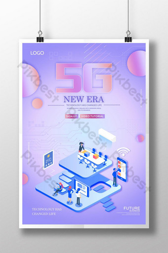 poster de inteligência artificial estilo tecnologia 5g Modelo PSD