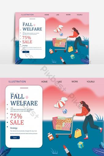 Warm color autumn season big promotion banner Backgrounds Template PSD