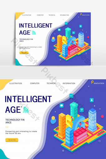 banner colorido de tecnologia da informação 5g Fundos Modelo PSD