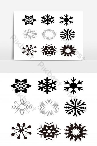 elemento gráfico de vector de paquete de copo de nieve monocrom Elementos graficos Modelo PSD