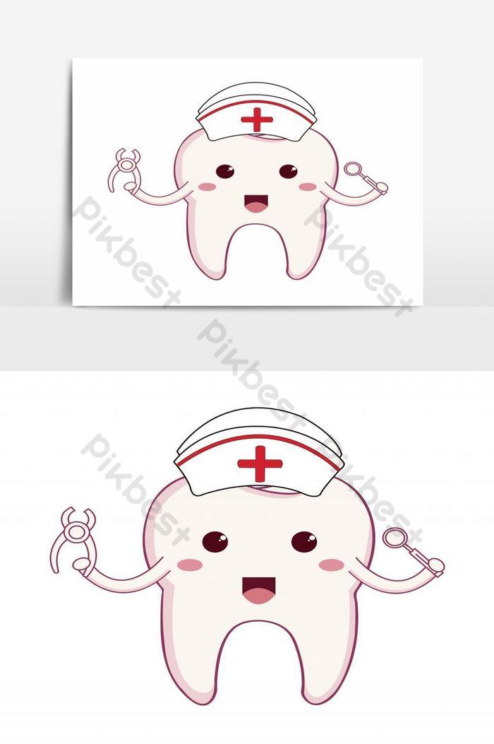 كارتون الأسنان يرتدي قبعة ممرضة ويحمل أدوات طبيب الأسنان ناقلات عنصر الرسم صور Png Eps تحميل مجاني Pikbest