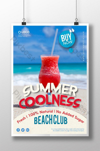 cartel de fiesta de bebida de playa fresca Modelo AI