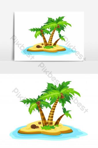 maliit na isla na may puno ng palad na napapalibutan ng karagatan ng Vector Graphic Element Imahe ng PNG Template EPS