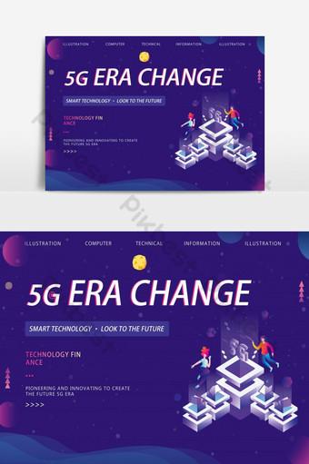 banner de tecnologia de rede 5g gradiente escuro Fundos Modelo PSD
