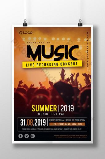Affiche du festival de musique d'été de la veille Modèle AI