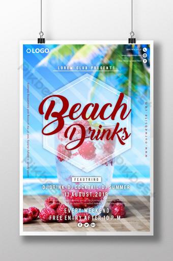 cartel de fiesta de bebida de playa Modelo AI