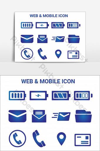 elemento gráfico de vector de paquete de icono móvil y web Elementos graficos Modelo AI