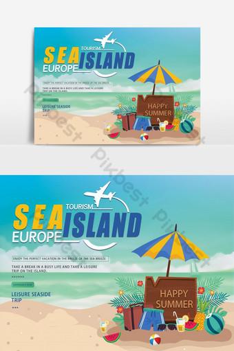 Banner sa promosyon sa paglalakbay sa isla Background Template PSD