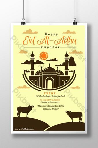 cartel simple de eid al adha con silueta de mezquita y vaca Modelo PSD