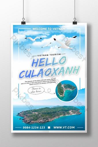 Blue water sky sa poster ng promosyon ng turismo sa isla ng Vietnam Template PSD