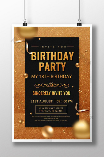 Invitation de fête d'anniversaire de luxe doré Modèle PSD