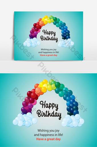 Elemento gráfico de vetor de balões arco-íris de feliz aniversário Elementos gráficos Modelo EPS