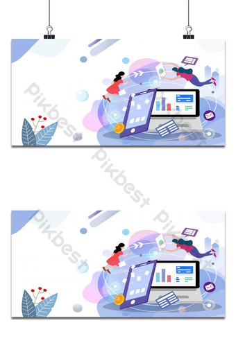 Women using technology to work on their project. Business concept illustration background Backgrounds Template PSD